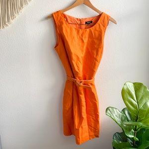 Premise Sleeveless Dress W/Belt Orange Sz 12